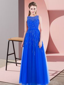 Sleeveless Tulle Floor Length Side Zipper Evening Wear in Blue with Beading