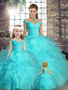 Discount Aqua Blue Lace Up Off The Shoulder Beading and Ruffles Quinceanera Gown Organza Sleeveless