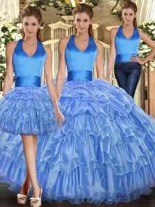 Halter Top Sleeveless Quinceanera Gown Ruffles and Pick Ups Lace Up