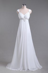 Sleeveless Brush Train Beading Lace Up Wedding Dress