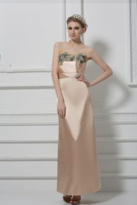 Cheap Floor Length Champagne Prom Party Dress Satin Sleeveless Lace and Appliques