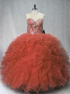 Sweet Sleeveless Beading and Ruffles Lace Up Vestidos de Quinceanera