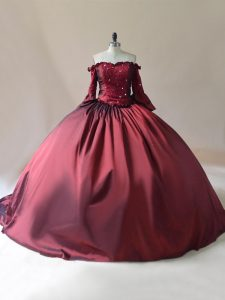 Custom Made Satin Off The Shoulder Long Sleeves Brush Train Lace Up Beading Sweet 16 Dresses in Burgundy