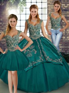 Sophisticated Teal Sleeveless Beading and Embroidery Floor Length Sweet 16 Dress