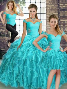 Sumptuous Aqua Blue Lace Up Quinceanera Gowns Beading and Ruffles Sleeveless Brush Train