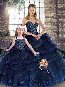 Ball Gowns Quinceanera Dresses Navy Blue Sweetheart Tulle Sleeveless Floor Length Lace Up