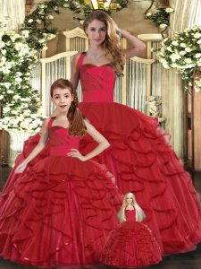 Sophisticated Red Tulle Lace Up 15th Birthday Dress Sleeveless Floor Length Ruffles