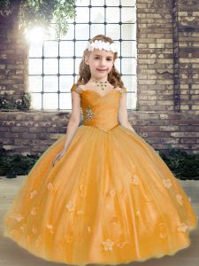 Ball Gowns Pageant Dress for Girls Gold Straps Tulle Sleeveless Floor Length Lace Up
