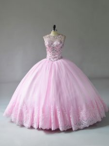 Exceptional Beading and Appliques Ball Gown Prom Dress Baby Pink Lace Up Sleeveless Floor Length