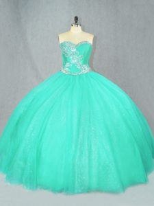 Turquoise Lace Up Sweetheart Beading 15 Quinceanera Dress Tulle Sleeveless