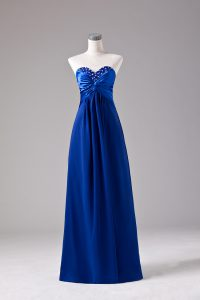 Empire Homecoming Gowns Royal Blue Sweetheart Chiffon Sleeveless Floor Length Lace Up