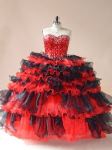 Ball Gowns Quince Ball Gowns Red And Black Sweetheart Organza Sleeveless Floor Length Lace Up