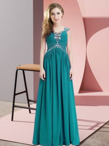 Floor Length Teal Evening Dress Chiffon Cap Sleeves Beading