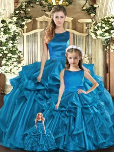 Teal Ball Gowns Organza Scoop Sleeveless Ruffles Floor Length Lace Up Quince Ball Gowns