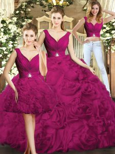 High Class Floor Length Fuchsia Quinceanera Dress V-neck Sleeveless Backless