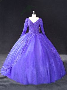 Popular Purple Lace Up Sweet 16 Dress Lace and Appliques Long Sleeves Floor Length