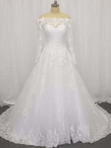 Best Selling Long Sleeves Brush Train Beading and Lace Clasp Handle Wedding Gown