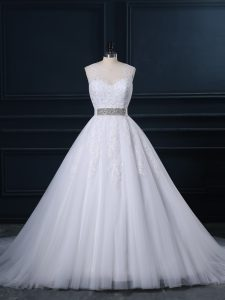 High Quality Ball Gowns Sleeveless White Wedding Gown Court Train Zipper