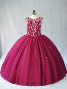 Glittering Burgundy Sleeveless Floor Length Beading Lace Up Quince Ball Gowns
