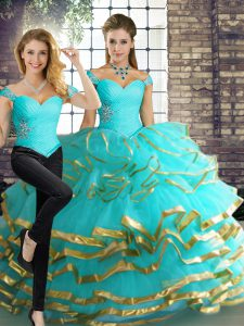 On Sale Aqua Blue Two Pieces Beading and Ruffled Layers Vestidos de Quinceanera Lace Up Tulle Sleeveless Floor Length