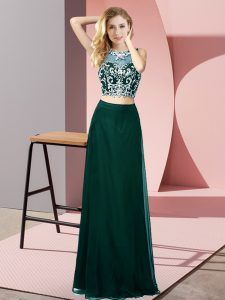 Affordable Peacock Green Scoop Backless Beading Prom Homecoming Dress Sleeveless