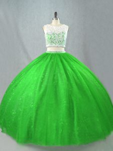Romantic Floor Length Green Vestidos de Quinceanera Tulle Sleeveless Beading