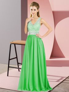 Sleeveless Chiffon Floor Length Backless Prom Dress in with Beading and Lace and Appliques