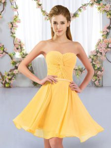 Luxury Gold Sleeveless Chiffon Lace Up Court Dresses for Sweet 16 for Wedding Party