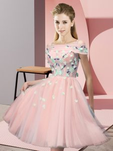 Empire Vestidos de Damas Pink Off The Shoulder Tulle Short Sleeves Knee Length Lace Up