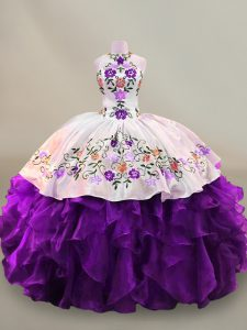 Unique Sleeveless Organza Floor Length Lace Up Quinceanera Dresses in White And Purple with Embroidery