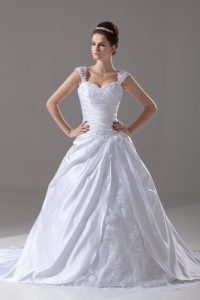 Comfortable White Sleeveless Brush Train Beading and Appliques Wedding Gown