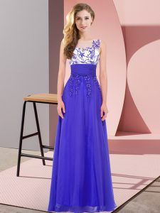 Popular Blue Empire Chiffon Scoop Sleeveless Appliques Floor Length Backless Bridesmaid Gown