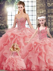 Decent Sweetheart Sleeveless Sweet 16 Dresses Brush Train Beading and Ruffles Watermelon Red Tulle