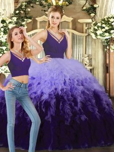 Customized Purple and Multi-color Ball Gowns Tulle V-neck Sleeveless Beading and Ruffles Floor Length Backless Sweet 16 Dress