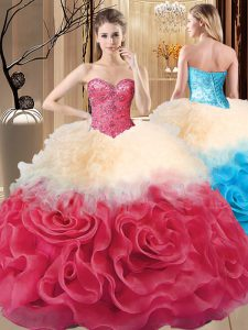 Custom Designed Red Sweetheart Neckline Beading and Ruffles Vestidos de Quinceanera Sleeveless Lace Up