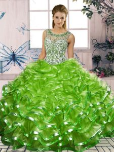 Fashion Sleeveless Organza Lace Up Quinceanera Dresses for Military Ball and Sweet 16 and Quinceanera