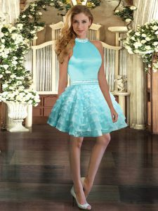 Aqua Blue Ball Gowns Halter Top Sleeveless Organza Mini Length Backless Beading and Ruffled Layers Prom Party Dress