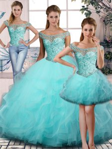 Graceful Aqua Blue Ball Gowns Tulle Off The Shoulder Sleeveless Beading and Ruffles Lace Up Quinceanera Gown