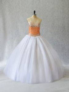 Enchanting Floor Length Ball Gowns Sleeveless White Quinceanera Gowns Lace Up