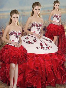 Luxurious Ball Gowns Quinceanera Dress White And Red Sweetheart Organza Sleeveless Floor Length Lace Up