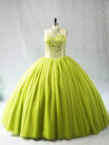 Fine Sleeveless Tulle Lace Up Vestidos de Quinceanera in Yellow Green with Beading