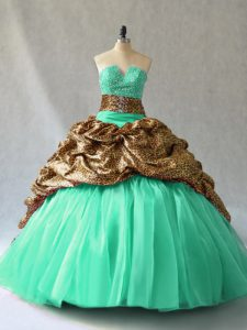 Beading and Pick Ups Quinceanera Gown Aqua Blue and Turquoise Lace Up Sleeveless Brush Train