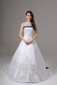 White Wedding Gown Wedding Party with Beading and Embroidery Strapless Sleeveless Brush Train Lace Up