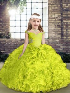Lovely Yellow Green Lace Up Straps Beading Pageant Dress Womens Organza and Fabric With Rolling Flowers Sleeveless