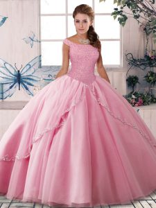 Sumptuous Rose Pink Ball Gowns Beading Sweet 16 Dress Lace Up Tulle Sleeveless