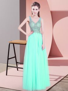 Popular Apple Green Sleeveless Floor Length Beading Zipper Dress for Prom