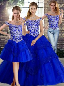 Perfect Royal Blue Ball Gown Prom Dress Off The Shoulder Sleeveless Brush Train Lace Up