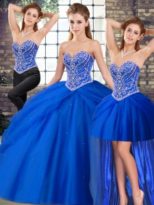 High Quality Tulle Sweetheart Sleeveless Brush Train Lace Up Beading and Pick Ups 15th Birthday Dress in Royal Blue