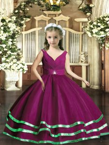 Classical Sleeveless Beading and Ruching Backless High School Pageant Dress