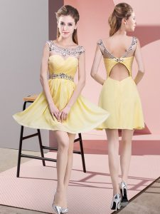 Traditional Scoop Sleeveless Club Wear Mini Length Beading and Ruching Yellow Chiffon